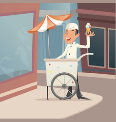 Ice cream seller happy smiling with cart retro vector