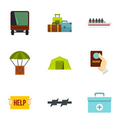 Immigration icons set flat style vector