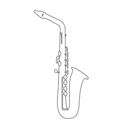 isolated saxophone outline vector image vector image