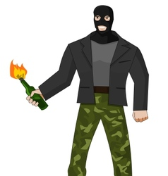 Man in mask with molotov cocktail vector image vector image