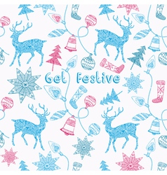 Noel card with deers and christmas decorations vector image vector image
