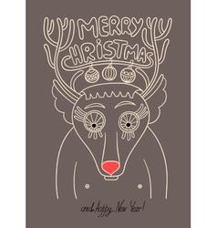 original doodle christmas deer concept winter mer vector image vector image