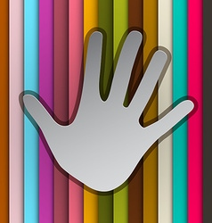 Palm Hand on Colorful Retro Striped Background vector image