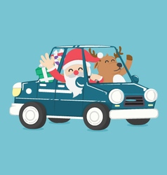 santa claus drive a car full of christmas gift vector image
