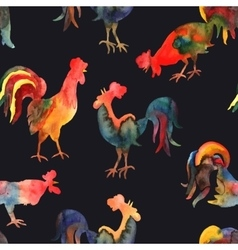 Seamless pattern with fire cock on black vector