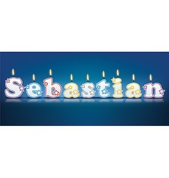 Sebastian written with burning candles vector