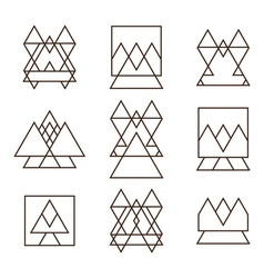 Set of geometric shapes triangles squares and vector image vector image