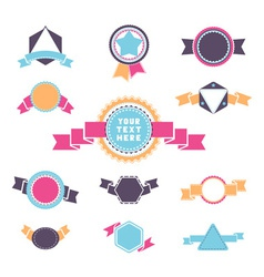 Set of vintage round triangle and hexagon badges vector