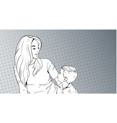 sketched woman embrace child mother with son over vector image