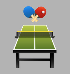 Table tennis rackets with ball on table vector