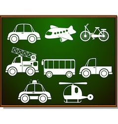 Transportations silhouette on blackboard vector