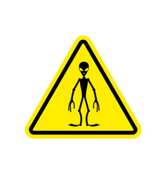 ufo warning sign yellow alien hazard attention vector image