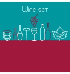 Wine elements set vector