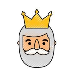Wise king face christmas cartoon vector