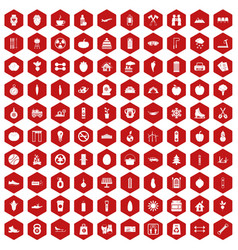 100 healthy lifestyle icons hexagon red vector