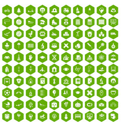 100 kids icons hexagon green vector