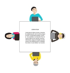 Square frame with people working at laptop vector
