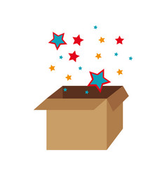 box with colors stars decorative icon vector image