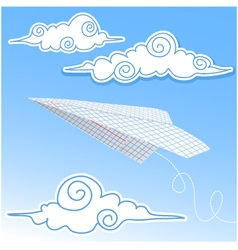 Paper airplane in the sky with paper decorative cl vector