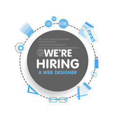 We hire a web designer megaphone concept vector