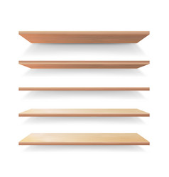 Empty wood shelves template set realistic vector
