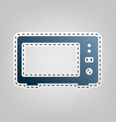 Microwave sign   blue icon vector