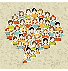 Social media bubble people crowd vector