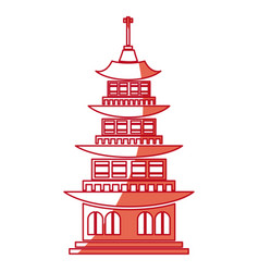 Chinese building ancient temple tower pagoda red vector