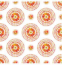 Autumn pattern retro floral circles texture vector