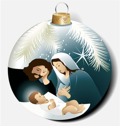 Christmas ball with holy family vector
