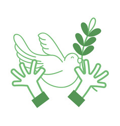 silhouette hands with dove animal and branch with vector image