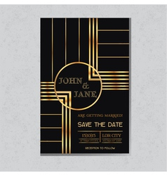 Wedding invitation card in art deco design vector