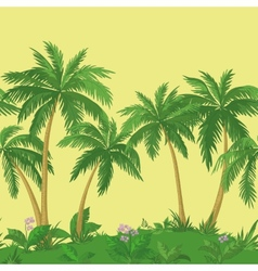 Palm trees and flowers seamless vector image