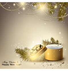 Christmas background with golden gift xmas box vector