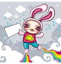 super rabbit vector image
