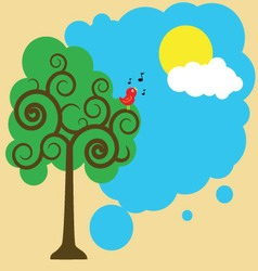 Illustration of a bird on a tree greeting sun vector