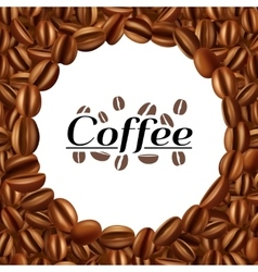 Coffee beans round frame background print vector