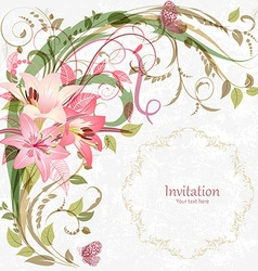 Romantic invitation card with pink lily with love vector