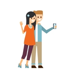 Boy and girl making a selfie vector