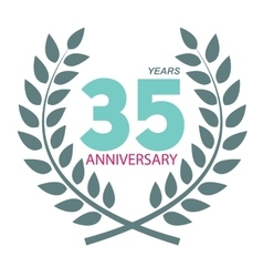 Template logo 35 anniversary in laurel wreath vector