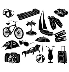 Summer icons set simple style vector