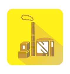 Chimney and building of chemical plant icon vector