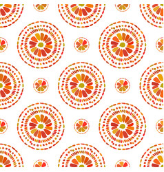 Autumn pattern retro floral circles texture vector
