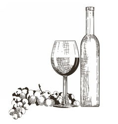 Bottle and glass of red wine with grapes isolated vector