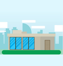 building house flat icon with city landscape vector image