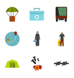 Camp of refugee icons set flat style vector