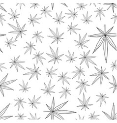 Cannabis leaf contour seamless pattern vector