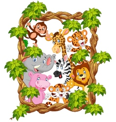 Cartoon collection animal with frame wood vector image