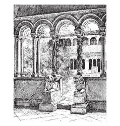 Cloister of the lateran benedictine system vector