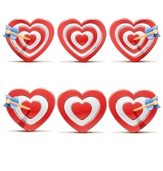 Collection of aim hearts vector image vector image